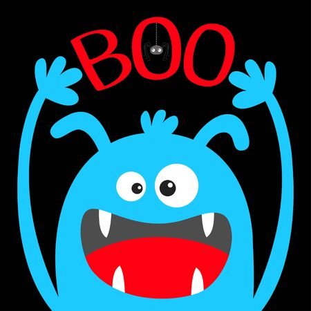 Happy Halloween. Monster head blue silhouette. Eyes, ears, teeth fang, tongue, hands up. Boo text. Hanging spider. Cute cartoon kawaii funny baby kids character. Flat design. Black background. Vector