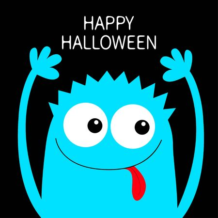 Happy Halloween. Monster head blue silhouette. Two eyes, hair, showing tongue, hands up. Cute cartoon kawaii funny character. Baby kids collection. Flat design. Black background. Vector illustration Ilustração
