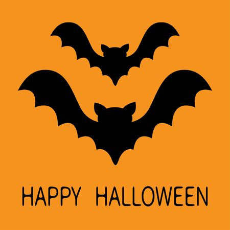Happy Halloween. Two bat flying black silhouette icon set. Cute cartoon baby character with big open wing. Forest animal. Flat design. Orange background. Isolated. Greeting card. Vector illustration