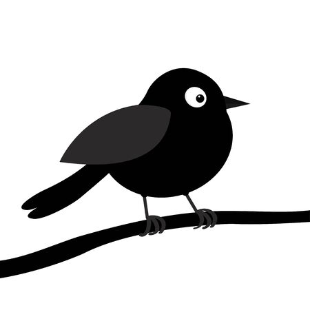 Black bird silhouette on the tree branch. Happy Valentines Day. Love Greeting card. Cute cartoon kawaii funny baby character. Flat design. White background. Isolated. Vector illustration