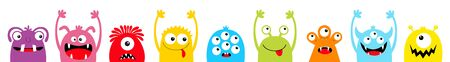 Fröhliches Halloween. Monster bunte Silhouette Kopf Gesicht Icon Set Linie. Augen, Zunge, Zahnfang, Hände hoch. Kawaii beängstigender lustiger Babycharakter der netten Karikatur. Weißer Hintergrund. Flaches Design. Vektor