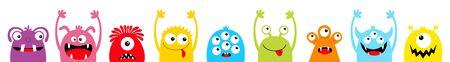Joyeux Halloween. Ligne de jeu d'icônes de visage de tête de silhouette colorée de monstre. Yeux, langue, croc de dent, mains levées. Personnage de bébé drôle effrayant kawaii de dessin animé mignon. Fond blanc. Conception plate. Vecteur