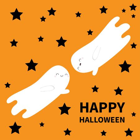 Happy Halloween. Two flying ghost spirit. Black star silhouette. Boo. Scary white ghosts. Cute cartoon spooky character. Smiling face hands. Orange background Greeting card Flat design Vector