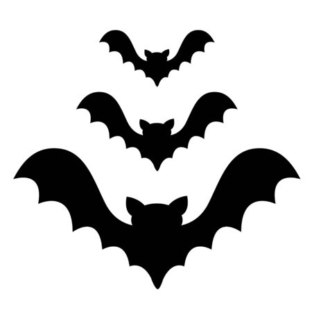 Three bat flying black silhouette icon set. Cute cartoon baby character with big open wing. Happy Halloween. Forest animal. Flat design. White background. Isolated. Greeting card. Vector illustration Illustration