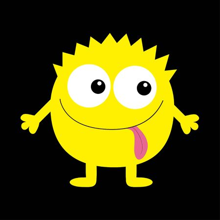 Monster yellow round silhouette. Two eyes, tongue, hands. Cute cartoon kawaii scary funny character. Baby collection. Happy Halloween. Black background. Isolated. Flat design. Vector illustration