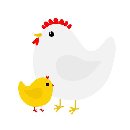 Hen and chicken bird icon set. Mother and baby. Happy Easter. Cute cartoon funny kawaii chick character. Flat design. Greeting card. Yellow color. White background. Isolated. Vector illustration