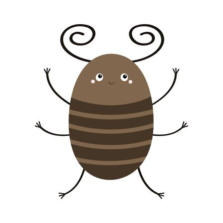 Bug beetle icon. Cute insect with horn. Cartoon kawaii funny character. Flat design. White background. Isolated. Vector illustration
