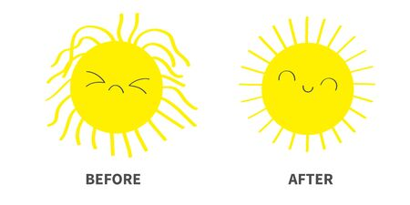 Sleepy Wake up sun shining icon set. Before After. Kawaii face with different emotions. Cute cartoon funny sad happy character. Hello summer. White background. Baby collection. Flat design. Vector