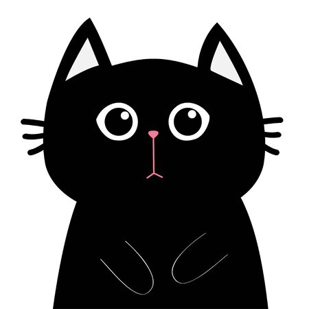 Black cat face head silhouette. Sad kitty kitten. Cute cartoon character. Pet adoption. Adopt me. Flat design style. White background. Isolated. Vector illustration Stock Illustratie