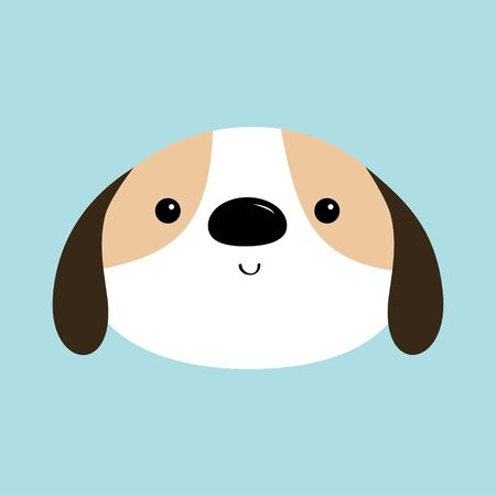 Dog face head round icon. White puppy pooch. Cute cartoon kawaii funny baby character. Flat design style. Help homeless animal concept. Adopt me. Pet adoption. Blue background. Isolated. Vector Stock Illustratie