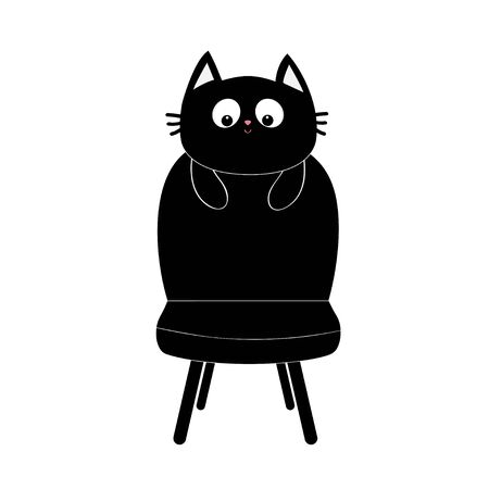 Black cat face silhouette holding chair. Baby kitty kitten. Cute cartoon character. Pet adoption. Flat design style. White background. Isolated. Vector illustration