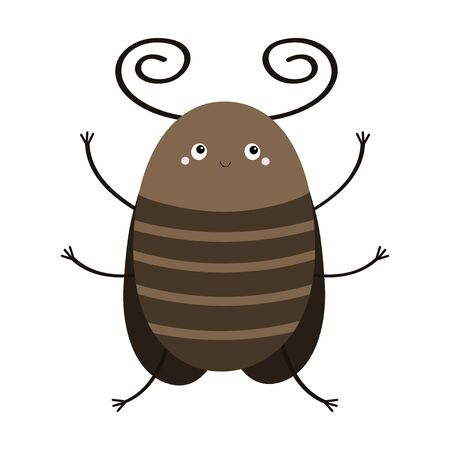 Bug beetle icon. Cute insect with horn, wings. Cartoon kawaii funny character. Flat design. White background. Isolated. Vector illustration 向量圖像