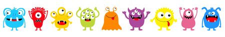 Happy Halloween. Monster colorful round silhouette icon set line. Eyes, tongue, tooth fang, hands up. Cute cartoon kawaii scary funny baby character. White background. Flat design. Vector illustration