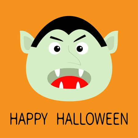 Happy Halloween. Count Dracula head face. Cute cartoon kawaii vampire character with fangs. Big mouth, tongue. Baby greeting card. Flat design. Orange background. Isolated. Vector illustration