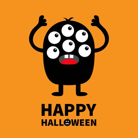 Happy Halloween. Monster black silhouette. Cute cartoon kawaii scary funny character. Baby collection. Many eyes, tooth tongue, hands up. Orange background. Isolated.Flat design. Vector illustration