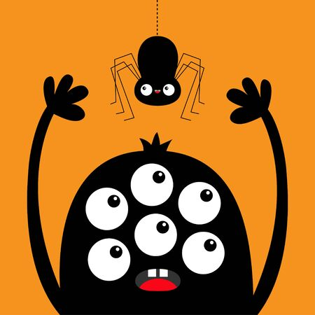 Monster head black silhouette. Six eyes, teeth, tongue, hands up. Hanging spider. Cute kawaii cartoon funny character. Baby kids collection. Happy Halloween. Flat design. Orange background. Vector Ilustrace