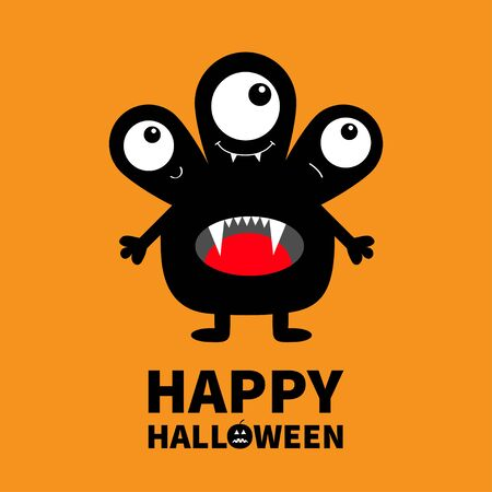 Happy Halloween. Monster black silhouette. Three eyes, fang tooth tongue, hands. Cute cartoon kawaii scary funny character. Baby collection. Orange background. Isolated Flat design Vector illustration