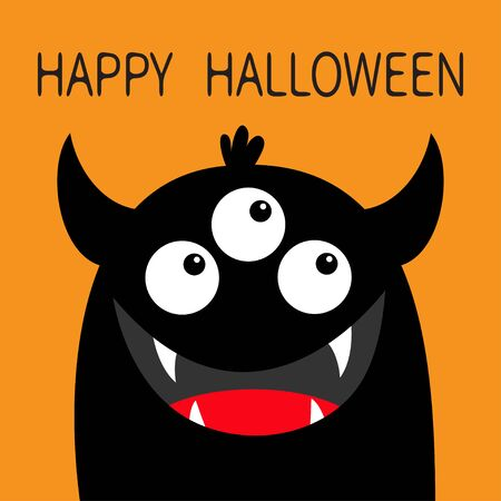 Happy Halloween. Monster head face black silhouette. Three eyes, teeth fang smile, horns. Cute kawaii cartoon funny character. Baby kids collection. Flat design. Isolated. Orange background. Vector