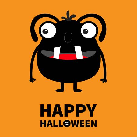 Happy Halloween. Monster black silhouette. Two eyes, tooth tongue, hands. Cute cartoon kawaii scary funny character. Baby collection. Orange background. Isolated. Flat design. Vector illustration