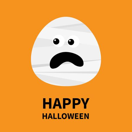 Mummy monster screaming face. Happy Halloween. Cute cartoon funny spooky baby character. Mum head. Greeting card. Flat design. Orange background. Isolated. Vector illustration Banque d'images - 132208856