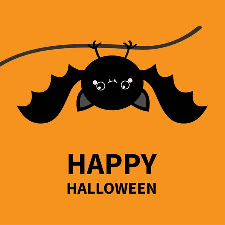 Happy Halloween. Bat hanging. Cute cartoon kawaii funny round baby character with open wings. Black silhouette. Forest animal. Flat design. Orange background. Isolated. Greeting card. Vector Stock Illustratie