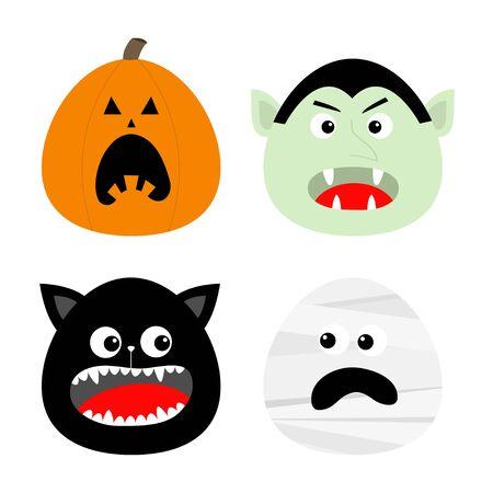 Feliz conjunto de iconos de Halloween. Calabaza, Conde vampiro Drácula, Momia, Cabeza redonda de gato. Personaje de dibujos animados lindo bebé espeluznante divertido. Tarjeta de felicitación. Diseño plano Fondo naranja. Ilustración vectorial Ilustración de vector