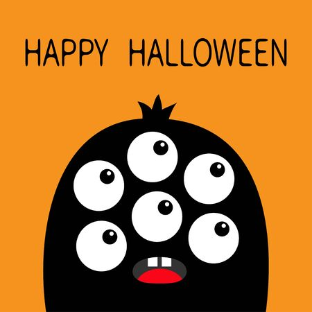 Happy Halloween. Monster head black silhouette. Six eyes, teeth, tongue. Cute kawaii cartoon funny character. Baby kids collection. Isolated. Orange background. Flat design. Vector illustrator