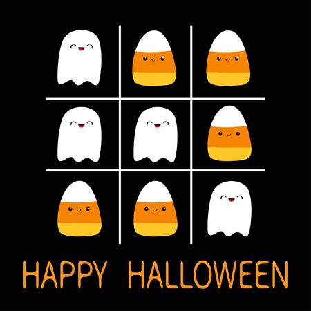 Tic tac toe game with ghost spirit and candy corn. Happy Halloween. Cute cartoon kawaii funny character set. Greeting card. Flat design. Orange background. Isolated. Vector illustration