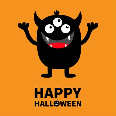 Happy Halloween. Monster black silhouette. Cute cartoon kawaii scary funny character. Baby collection. Three eyes, fang tooth tongue, hands up. Orange background. Isolated. Flat design. Vector
