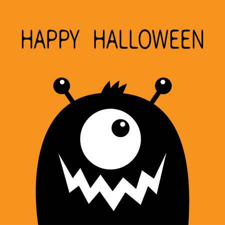 Happy Halloween. Monster head black silhouette. One eye, teeth fang mouth, horns. Cute kawaii cartoon funny character. Baby kids collection. Isolated. Orange background. Flat design. Vector