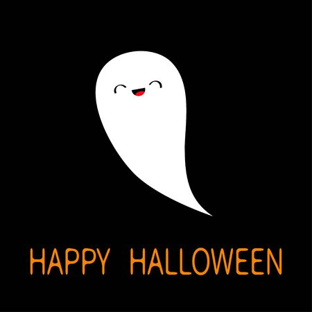 Happy Halloween. Flying white ghost spirit. Boo. Cute cartoon scary spooky character. Smiling face, hands. Black background Greeting card. Flat design. Vector illustration