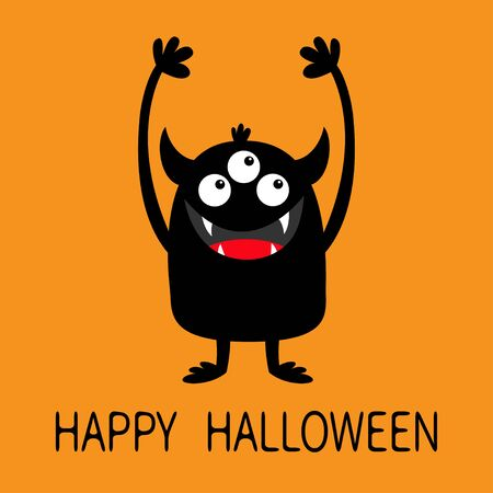 Happy Halloween. Monster black silhouette icon. Three eyes, teeth fang, horns, boo hands up. Cute kawaii cartoon funny character. Baby kids collection. Orange background. Isolated. Flat design. Vector