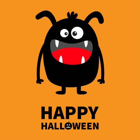 Happy Halloween. Monster black silhouette. Cute cartoon kawaii scary funny character. Baby collection. Crazy eyes, fang tooth tongue, hands. Orange background Isolated Flat design. Vector illustration