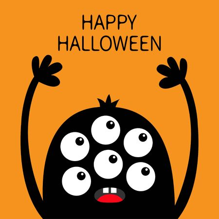 Happy Halloween. Monster head black silhouette. Six eyes, teeth, tongue, hands up. Cute kawaii cartoon funny character. Baby kids collection. Flat design. Orange background. Isolated. Vector Ilustração