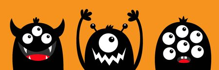 Monster head face black silhouette set line. Eyes, teeth fang, horns, hands up. Cute cartoon kawaii funny character. Happy Halloween. Baby kids collection. Flat design. Orange background. Vector