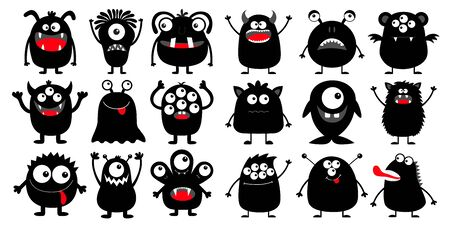 Monster black silhouette super big icon set. Happy Halloween. Eyes, tongue, tooth fang, hands up. Cute cartoon kawaii scary funny baby character. White background. Flat design. Vector illustration