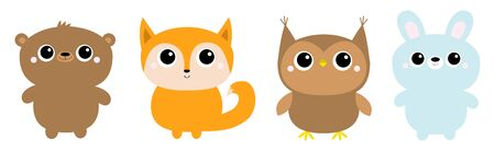 Forest animal toy icon line set. Bear hare rabbit fox owl. Cute kawaii cartoon funny baby character. Kids education cards. Flat design. White background. Isolated. Vector illustration