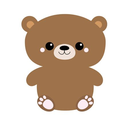 Grizzly brown bear toy sitting. Big eyes. Cute cartoon funny kawaii character. Forest baby animal collection. White background. Isolated. Flat design. Vector illustration Иллюстрация