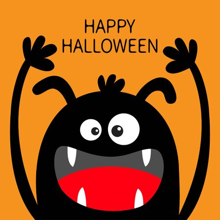 Happy Halloween. Monster head black silhouette. Two eyes, ears, teeth fang, tongue, hands up. Cute cartoon kawaii funny character Baby kids collection Flat design Orange background Vector illustration