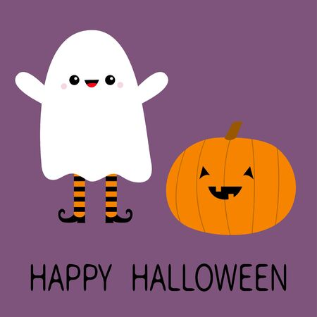 Happy Halloween. Child kid wearing ghost spirit costume. Cute pumpkin. Trick or treat. Funny creepy smiling face. Cute cartoon kawaii baby character. Eyes, teeth. Violet background. Flat design Vector