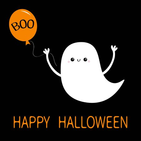 Flying baby ghost spirit holding balloon with Boo text. Happy Halloween. Cute cartoon white scary spooky character. Smiling face, hands. Black background Greeting card Flat design Vector illustration