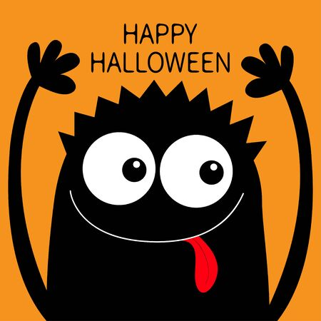 Happy Halloween. Monster head black silhouette. Two eyes, hair, showing tongue, hands up. Cute cartoon kawaii funny character. Baby kids collection. Flat design. Orange background. Vector illustration