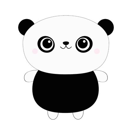 Panda bear toy icon. Kawaii animal. Black and white. Cute cartoon character. Funny baby face with eyes, nose, ears. Kids print. Love Greeting card. Flat design. Gray background. Isolated. Vector