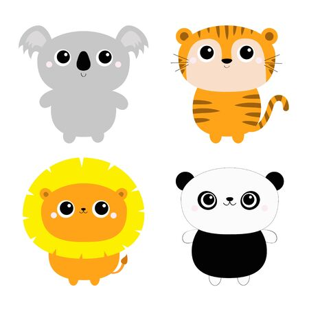 Koala Lion Panda bear Tiger ftoy icon set. Kawaii wild animal. Cute cartoon character. Funny baby kids print. Love Greeting card. Flat design. White background. Isolated. Vector illustration