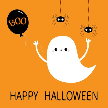 Happy Halloween. Flying ghost spirit holding balloon with Boo text. Hanging spiders. Cute cartoon white scary spooky character. Smiling face, hands. Orange background. Greeting card Flat design Vector