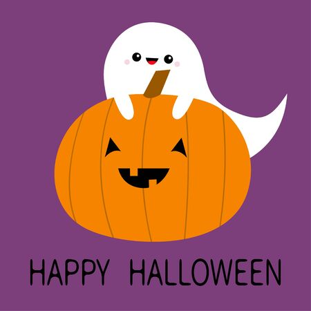 Ghost spirit hugs pumpkin. Happy Halloween. Funny creepy smiling face. Cute cartoon kawaii baby character set. Eyes, teeth. Greeting card. Violet background. Isolated. Flat design. Vector illustration