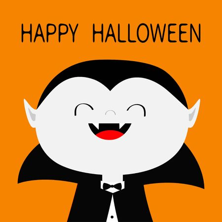 Happy Halloween. Count Dracula white head face costume. Cute cartoon kawaii smiling vampire character with fangs. Big mouth, tongue. Baby greeting card. Flat design. Orange background Isolated. Vector