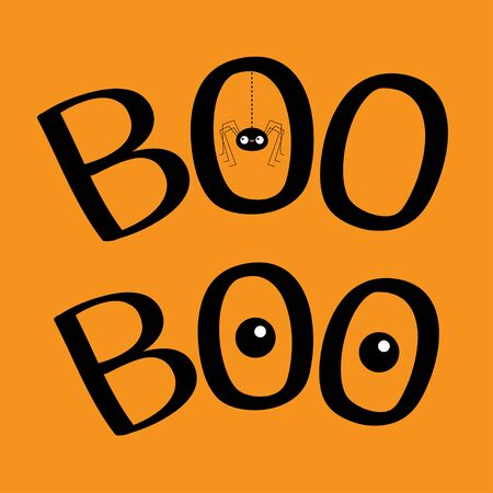 Word BOO text with hanging spider insect silhouette. Two eyes. Cute cartoon kawaii character set. Happy Halloween greeting card. Dash line thread. Flat design. Orange background. Vector illustration