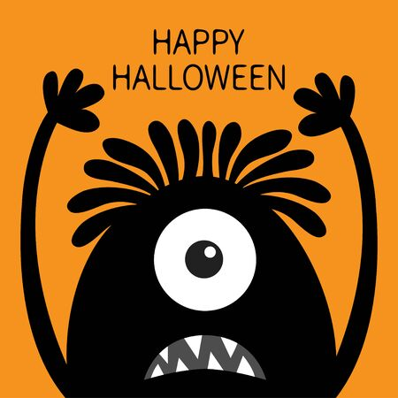 Happy Halloween. Monster head black silhouette. One eye, hair, teeth fang, tongue, hands up . Cute cartoon kawaii funny character Baby kids collection Flat design Orange background Vector illustration
