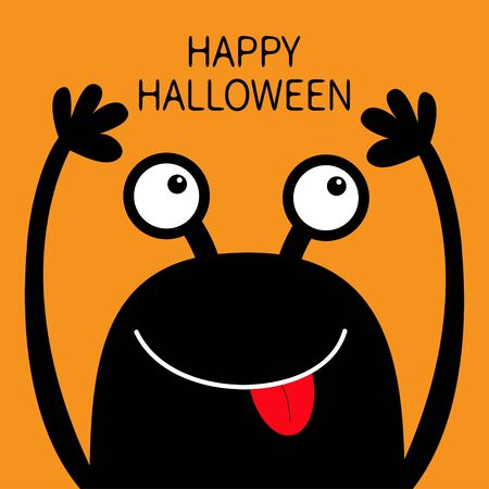 Happy Halloween. Monster head black silhouette. Two eyes, face showing tongue, hands up. Cute cartoon kawaii funny character. Baby kids collection. Flat design. Orange background. Vector illustration